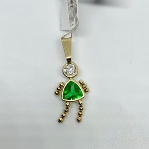 Solid 14k gold May daughter/girl birthstone charm